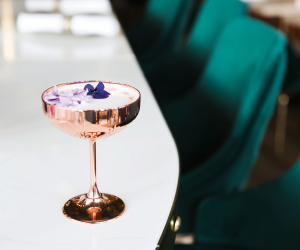 A simple tropical cocktail recipe with vodka, Chambord and Strega.