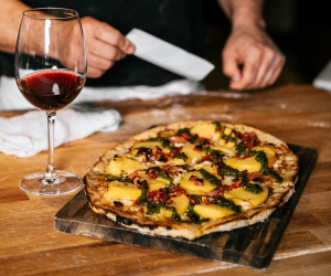 The best pizza in Toronto | A pizza and a glass of red wine at the Parlour