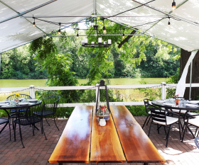 The patio overlooking the Grand River at La Fontana, a restaurant in Elora