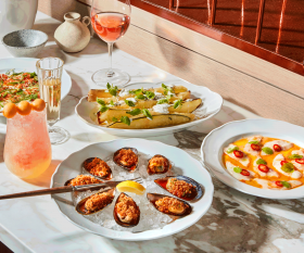 Restaurant review: Toronto Beach Club   Assorted appetizers and signature cocktails