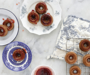 Strawberry-glazed sufganiyot recipe from The Jewish Food Hero Cookbook