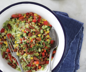 Bean salsa salad with corn recipe from The Jewish Food Hero Cookbook